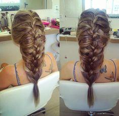 Teste de penteado para noiva, trança escama de peixe