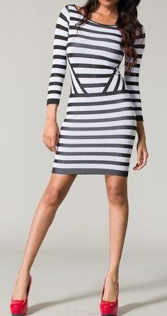 Stripes bandage dress