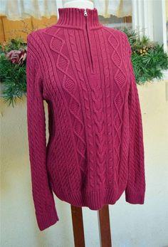 Croft Barrow Mock Turtleneck Fisherman Cable Knit ¼ Zip Sweater L Burgandy #CroftBarrow #TurtleneckMock