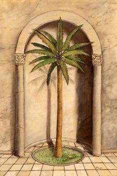 Romanesque Palm I Mural - Paul Brent Palm Tree Wallpaper Mural, Beach Scene Wallpaper, Beach Wall Murals, Tree Wall Murals, Garden Mural, Murals Your Way, Romanesque, Beach Scenes, Dining Furniture