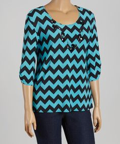 Another great find on #zulily! Turquoise & Black Zigzag Necklace Top - Plus #zulilyfinds