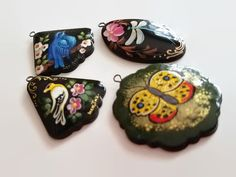Russian Paper Mache Lacquer Pendant - Necklace, Jewelry Making, Spring, Focal, Lightweight, Hand Painted by offthebeadingpathva on Etsy