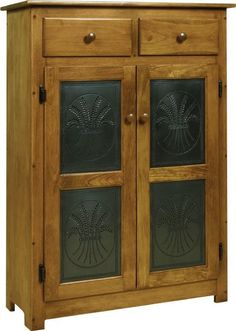 Amish Pie Safe with Tin Doors Solid pine wood pie safe with two shelves and two drawers. Option for solid wood pie safe or you can add punched tin doors that come in a variety of designs. Amish made in Pennsylvania. #DutchCrafters