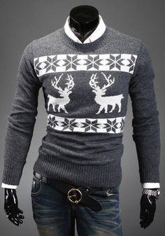 Unisex Xmas Reindeer snowflake retro mens sweatshirt fair isle sweater jumper   eBay