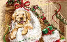 κουτάβι, χριστούγεννα, ταπετσαρία, γελοιογραφία, disney διανυσματικό