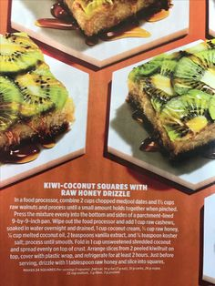 Kiwi coconut squares with raw honey drizzle