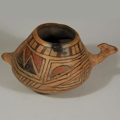 #adobegallery - Casas Grandes Ramos Polychrome Effigy Vessel - Prior to the 1800s, it was believed that the ruins being excavated in Northern Mexico were those of the Aztec Indians.  Further study by the late 1800s concluded that the spectacular ruins were directly ancestral to Pueblo people of the Greater Southwest.  The large pueblo village of Paquimé was a trade center for trade with those people and those north of them, which is now New Mexico.