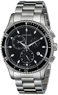 Men's Wrist Watches - Hamilton Mens H37512131 Jazzmaster Seaview Black Chronograph Dial Watch -- Read more reviews of the product by visiting the link on the image.