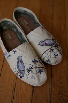 Custom TOMS Shoes - Blue Birds in the Flowers. $94.50, via Etsy.