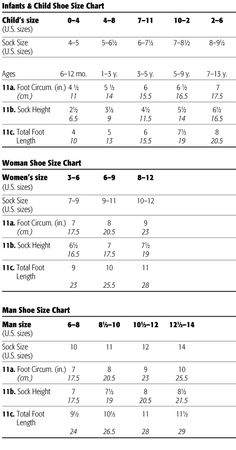 Foot Size Chart The following measurements are for crew-style or dress socks, which usually come several inches above the ankle and below the calf.