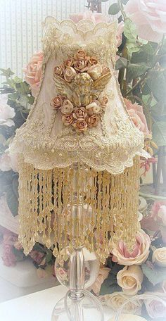 Fine Victorian EXQUISITE detailed French Shabby sm Lamp Shade Lace beaded silk