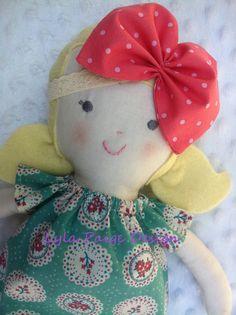 Custom Made Ruby Cloth Doll- Rag Doll -  Child Friendly- - dolly dress  15inch handmade softie baby girl