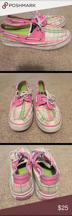 Sperry pink and green plaid sneakers Sperry pink and green plaid sneakers. Sperry Shoes Flats & Loafers