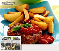 """Pork Patties / Svinebøffer - An easy dinner recipe from dinmat.no - Let yourself be tempted by thick, juicy and lean pork patties, inspired by the Danish """"hakkebøff"""". Simple to make both of them. Here you have a full meal when you're busy!- http://recipereminiscing.wordpress.com/"""