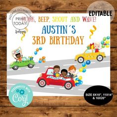 Honk for Birthday Drive by Welcome Sign, Boy Birthday Parade Sign, Quarantine Birthday Banner, Boy Birthday Social Distancing Birthday Favors Girls, Happy Birthday Boy, Boy Birthday Parties, 3rd Birthday, Baby Shower Invitations, Birthday Invitations, Electronic Invitations, Diy Party Supplies, Monster Truck Birthday