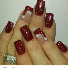 Santa hat nails Red sparkle nail polish Subtle holiday designs