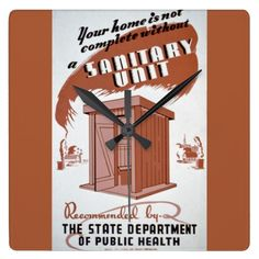 Outhouse WPA Poster Square Wall Clock - No home is complete without a sanitary unit, aka an outhouse… according to this WPA poster by the Illinois State Department of Public Health Outhouse Bathroom Decor, Wpa Posters, Illinois State, The Unit, Public Health, 1930s, Clocks, Wall, Depression