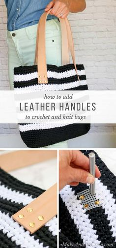 Learn how to add leather handles to a crochet or knit bag to add instant sophistication, strength and texture. Upcycle an old belt for even more charm! via @makeanddocrew