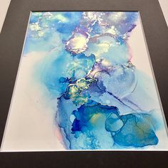 Abstract original alcohol ink blue yellow green swirls with gold accents New 5x7 artwork in 8x10 black mat ready to frame not a print
