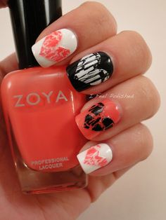 Valentine Nails If you did it with the solid background and the heart with Crackle nail polish.... <3