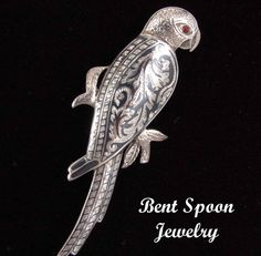 Vintage Sterling Silver Parrot Bird Pin Brooch by Bentspoonjewelry, $79.00