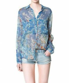 Butterflies and Floral Print Chiffon Blouse - Blouses - Clothing