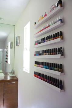 manic monday: nail polish collection (via Apartment Therapy) inspiration for DIY nail polish storage/display
