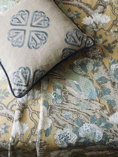 GP&J Baker Signature Print collection. Gp&j Baker, Chinese Artwork, Lee Jofa, Magnolia Trees, Exotic Flowers, Soft Fabrics, Throw Pillows, Stone, Inspiration