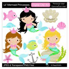 cute mermaid clip art digital clipart girls, fish, shells, ocean, pink, pearl - Lil Mermaid Princesses - Personal Commercial Use. $5.00, via Etsy.