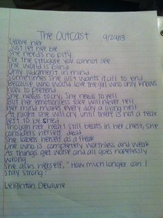 """Wrote this earlier. """"The Outcast"""" xx <<<<<<< @Leighton Phillips Phillips Phillips DeLaune (tbci) Really great!! xx"""