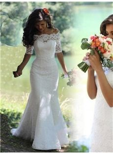 Church Glamorous & Dramatic Sheath/Column Spring Half Sleeves All Sizes Lace-up Off-the-Shoulder Wedding Dress