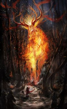 The fire element it the warmth yet destroyer of his home planet. Great danger can be created if the beast is woken, bt he is at peace with us when  he is controlled and kept behind lock and key: