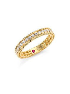 Roberto Coin Princess 18k Gold Petite Ring with Diamonds, Size 6.5