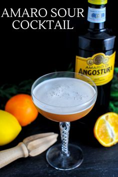This Angostura Sour cocktail is full of flavor with amaro, citrus juice,  egg white and bourbon! A great and tasty flavor combination! #cocktail  #orange #bitters