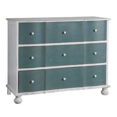 Nine-drawer wood chest with bun feet.   Product: ChestConstruction Material: WoodColor: Distresse...