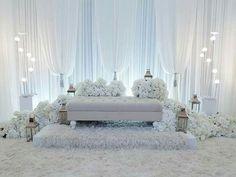 Wedding Stage Design, Wedding Reception Backdrop, Wedding Stage Decorations, Wedding Mandap, Pelamin Simple, Wedding Doorgift, Brides Room, Akad Nikah, Winter Wonderland Wedding
