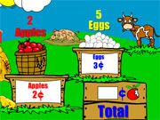 Free Online Puzzle Games, You are about to head to the farm and purchase some eggs and apples, but the cash register is broken!  In Farm Stand Math, you must manually calculate the price of each item and figure out how much you owe!  Multiply the price of each item and then add them together to get your total!, #math #learning #teaser #brain #puzzle