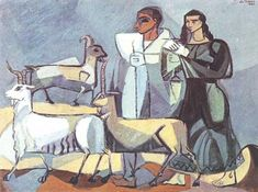 Cemal Tollu (Turkish, - Goats at Ankara Local Painters, Turkish Art, Pastel Drawing, Vincent Van Gogh, Disney Characters, Fictional Characters, Artsy, Colours, Sculpture