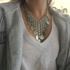 Get the best quality Bohemian Jewelry online for women with boho chic styles direct from our bohemian boutique. Beautiful Boho Jewelry including necklaces, armlets, and chokers all at affordable prices. Silver Choker Necklace, Coin Necklace, Pendant Necklace, Silver Jewelry, Fashion Jewelry Necklaces, Fashion Necklace, Choker Outfit, Bohemian Jewelry, Chokers