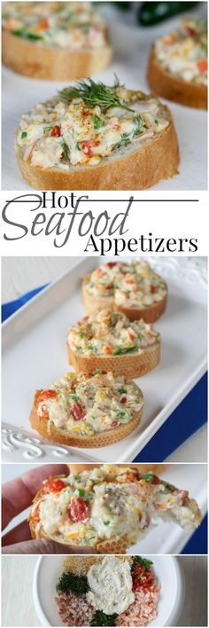 Hot Seafood Appetizers (VIDEO) - Valentina's Corner - Great canapes that can be served as appetizers for parties or brunch with shrimp, crab, jalapenos and cheese, toasted to perfection. Seafood Appetizers, Seafood Dinner, Finger Food Appetizers, Yummy Appetizers, Appetizers For Party, Finger Foods, Appetizer Recipes, Appetizer Ideas, Seafood Party