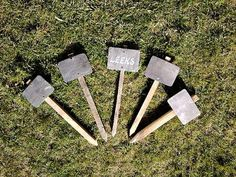 Wood and slate garden/allotment row markers set of 5 by MarcWinArt, £10.00