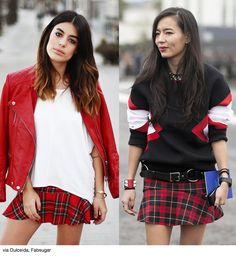 Red, White & Tartan Mini Skirts - Blue is in Fashion this Year