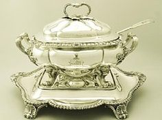 An exceptional, fine and impressive antique George IV English sterling silver soup tureen with matching stand and associated ladle; part of our silverware collection  http://www.acsilver.co.uk/shop/pc/Sterling-Silver-Soup-Tureen-with-Matching-Stand-Antique-George-IV-140p3687.htm