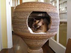 DIY Cardboard Cocoon Cat Bed