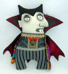 Count Dracula Jr. Halloween whimsical art doll 2. $125.00, via Etsy.  traci huttona