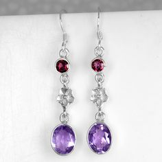 Workmanship Spirited Amethyst Pendant And Earrings Set Solid Silver Round Solitaire Exquisite In