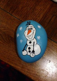 Frozen,+Olaf,+Painted+Rock,+Pebble,+Paper+Weight,+Ornament,+Disney+Personalised