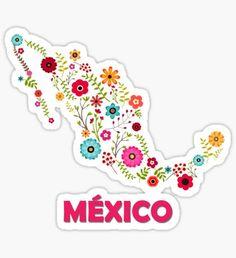 'Mexico map flowers' Sticker by myrgomez Mexican Art, Mexican Style, Mexico Tattoo, Disney Minimalist, Sticker Design, Flower Art, Vinyl Decals, Wallpaper, Instagram