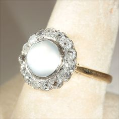 Antique European 18k and Platinum Diamond and Moonstone Ring c.1900 from vsterling on Ruby Lane