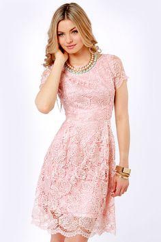 $70 Genteel Breeze Backless Blush Pink Lace Dress at LuLus.com!